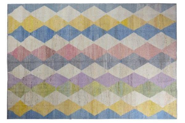 large handwoven rug harlequin design