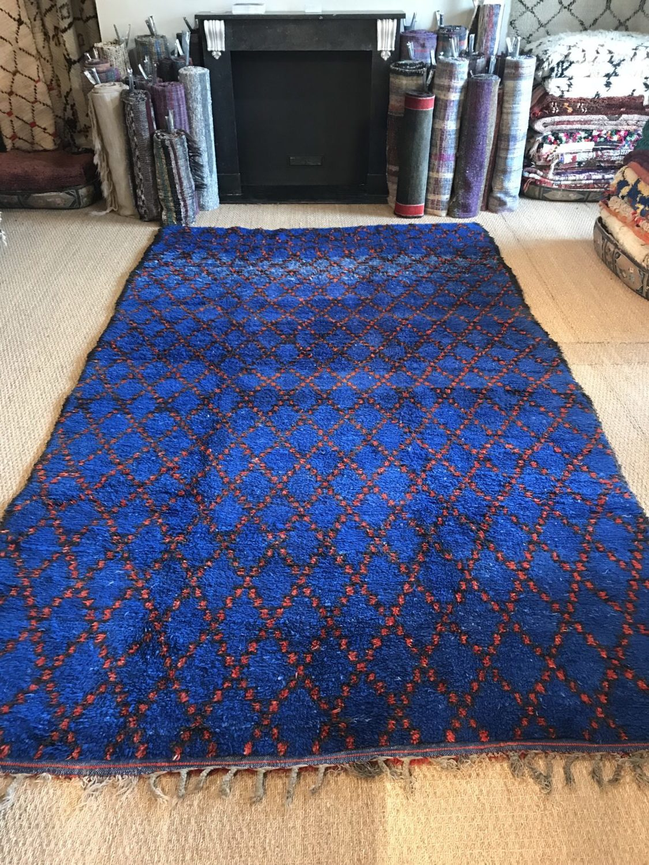 Large Vintage Moroccan Pile Rug Cobalt Blue Hand Woven 1970s Wool Rug Geometric Red Diamond Design