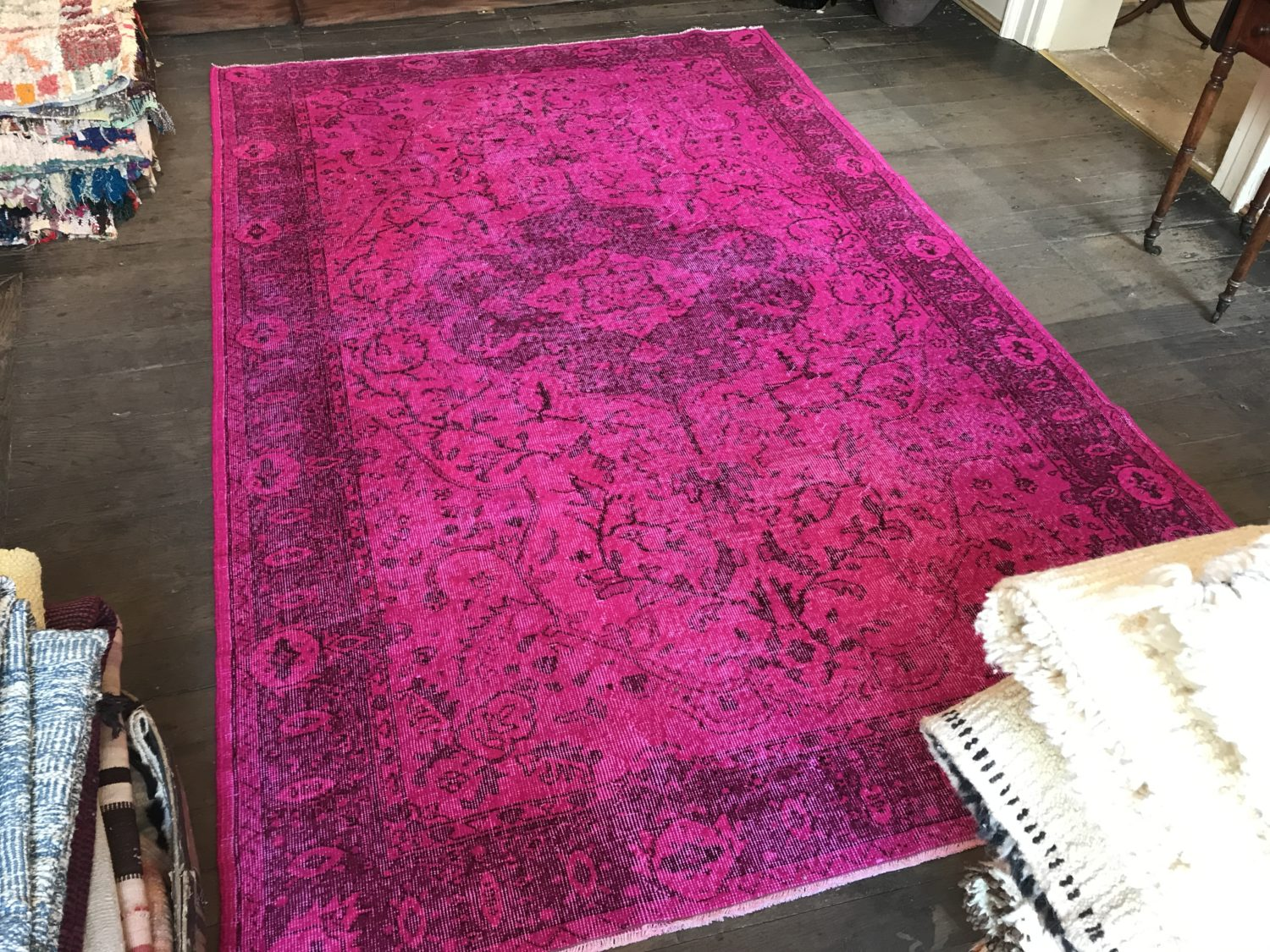 Hot Pink Overdyed Rug Medium Size Emily S House London