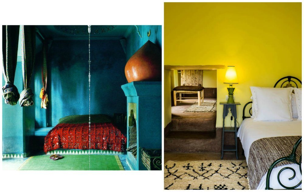 Left: A bedroom found on Pinterest, where greens and blues are given a jolt by the red blanket. Right: A bedroom at Beldi Country Club in eye-popping yellow, tempered by the addition of neutral textiles