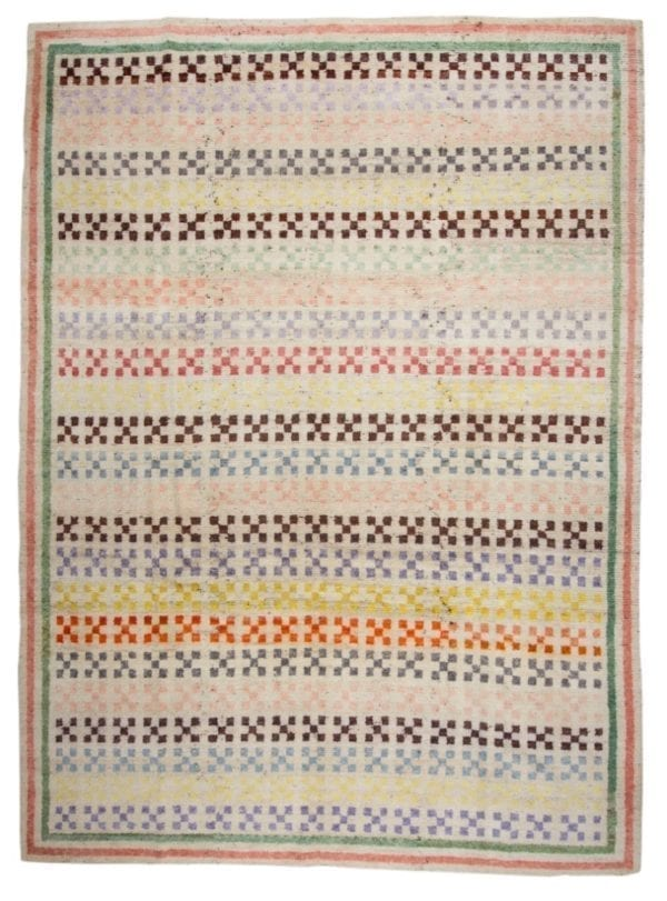 handwoven rug colourful design