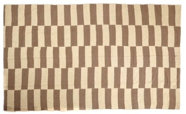 Beige and Brown Geometric Striped Kilim