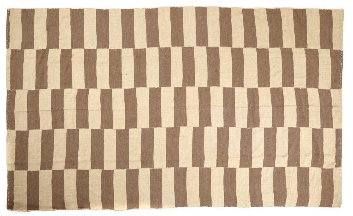 Beige And Brown Geometric Striped Kilim Emily S House London