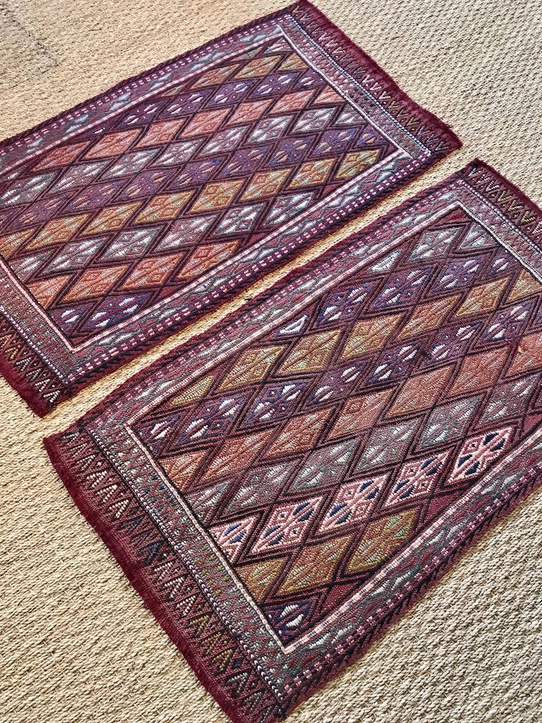 Pair Of Small Turkish Kilim Rugs Mats Set Of 2 Bathmats Doormats