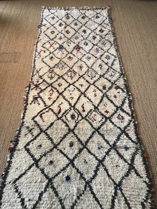 Moroccan Runner Large Size Cream Carpet Geometric Handwoven Berber Rug Short Pile Grey Diamonds Colourful Accents