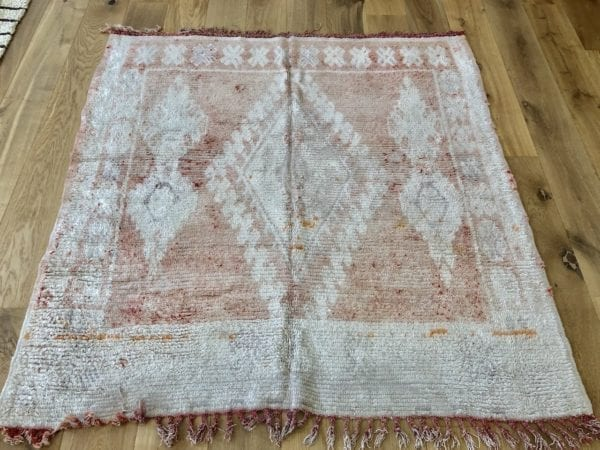 small berber rug in coral colour