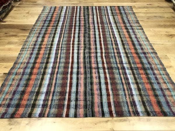 large caput kilim turkish rug striped pattern