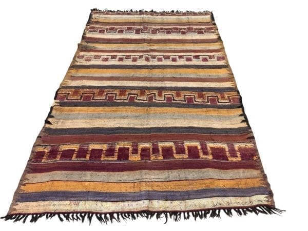 moroccan kilim pink purple orange bright colours striped design