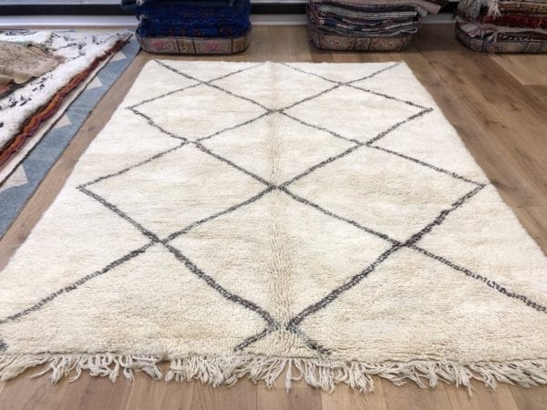 Large Moroccan Cream Carpet Geometric Design