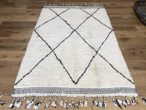 new made beni ouarain white rug black geometric design