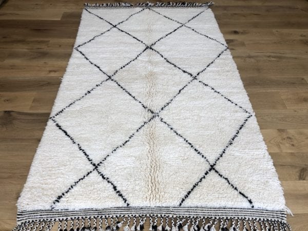 New Made Berber Rug White With Black Geometric Design