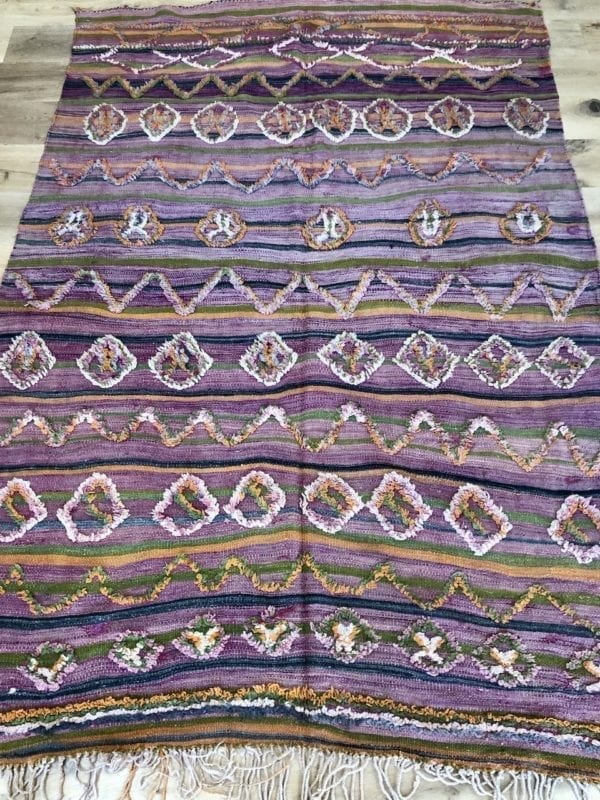 purple green striped moroccan Berber kilim