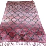 red rug vintage moroccan berber carpet geometric design medium size