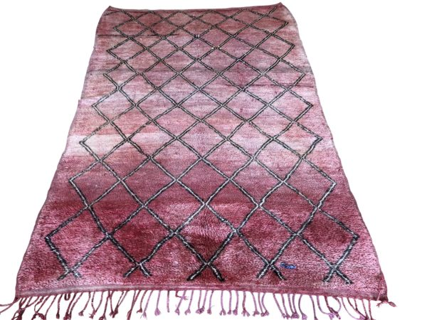 red rug vintage moroccan berber carpet geometric design medium size