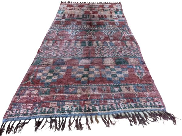 multicoloured red coral green moroccan berber rug long carpet large area rug