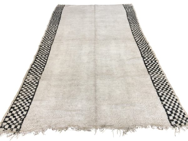 antique moroccan berber rug taznact plain with checkerboard edges