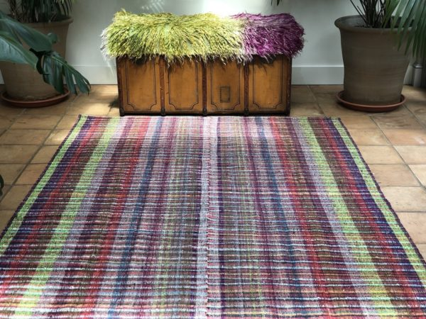 bright and colourful pink and green kids rug Turkish kilim carpet