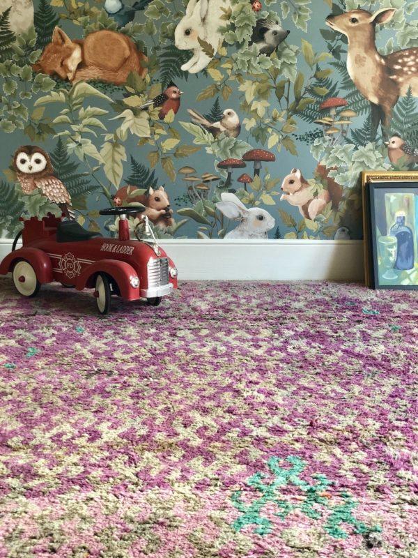 purple green moroccan rug large size vintage handmade rug