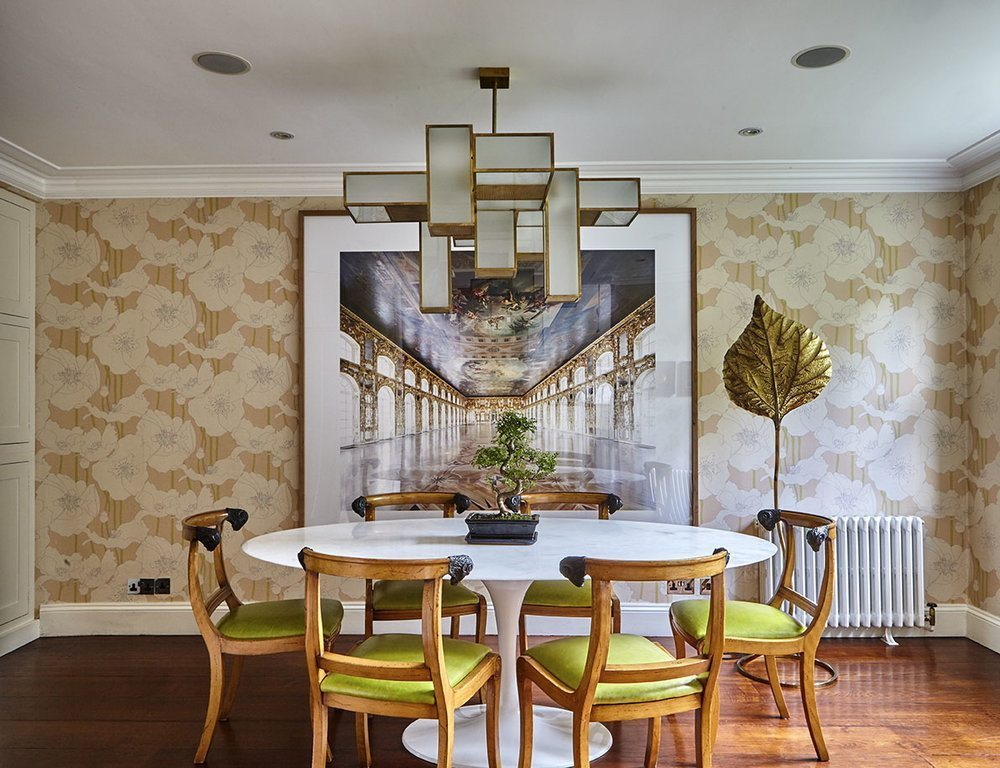 A striking dining room designed by Fiona Squires for a private client