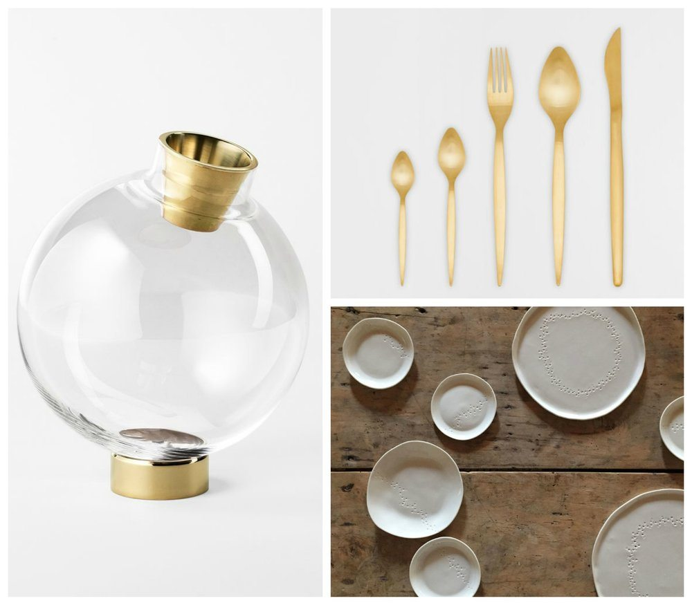 Gorgeous details based on Fiona's ideas - vase from Svenkst Tenn, cutlery from Zara, porcelain from Epure Ceramique