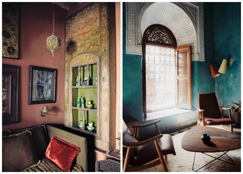 Left: the living room in Morocco of Belgian decorator Christophe Decarpentrie Image from New York Times. Right: an EHL favourite - the El Fenn Hotel, Morocco