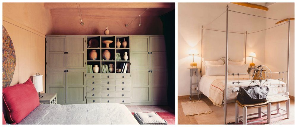 Left: a room decorated by Arnaud Maurieres and Eric Ossart, The New York Times. Right: A simple room brought to life by textiles in the Beldi Country Club