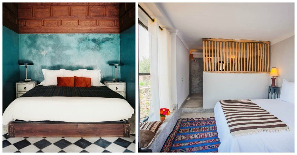 Left: a bedoom with jewel tones and statement tile floor in El Fenn. Right: Beldi Country Club - as above, it's the textiles that make this room