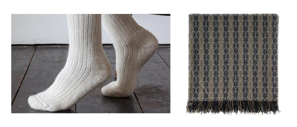 Left: Cream Alpaca Socks, £16, Freight . Right: Merino Lambswool Flint Throw, £215, The Future Kept