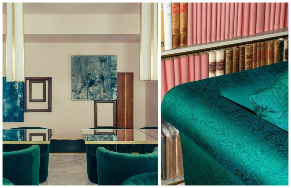 Images left, Le Saint Marc hotel by Dimore Studio, Right Dedar's Paisley fabric, PÀISLIG.