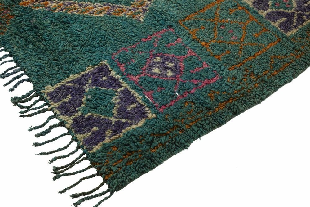 Emerald green and pink vintage Moroccan pile rug