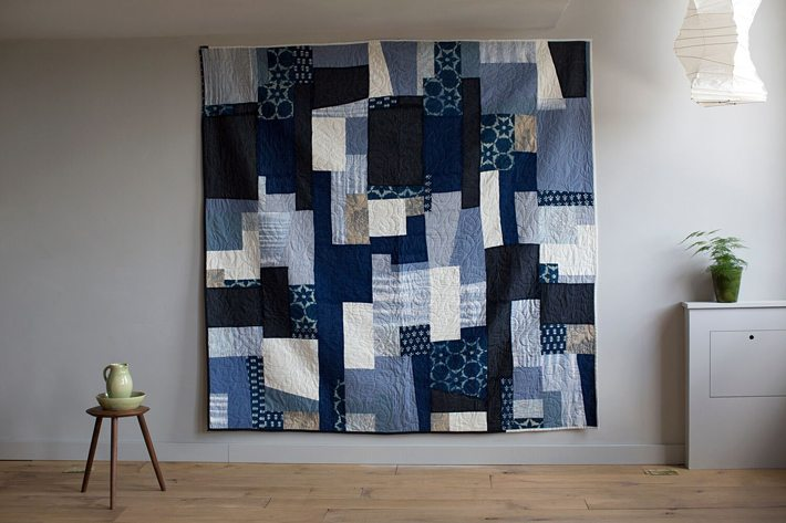 Quilt Two combines a mixture of new Indian Khadi cotton and Indian block prints, as well as Antique Japanese silk, Vintage African cotton and wool and English block print