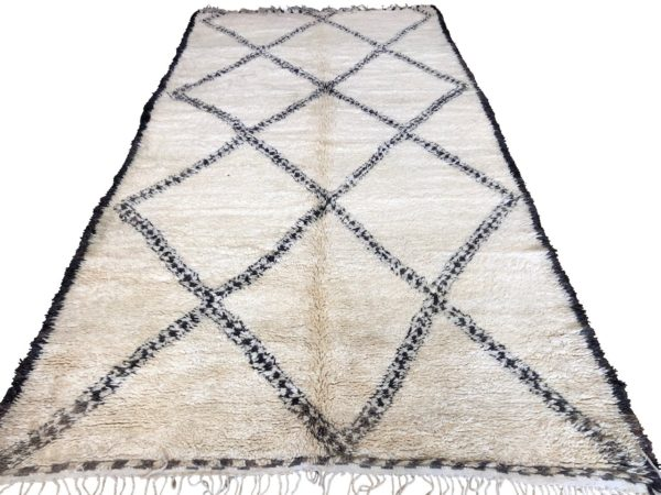 Moroccan Rug Cream Carpet Geometric Design White Background
