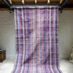 Purple Stream Vintage Turkish Caput Kilim Rug - Striped handmade with goat hair and Cotton Carpet