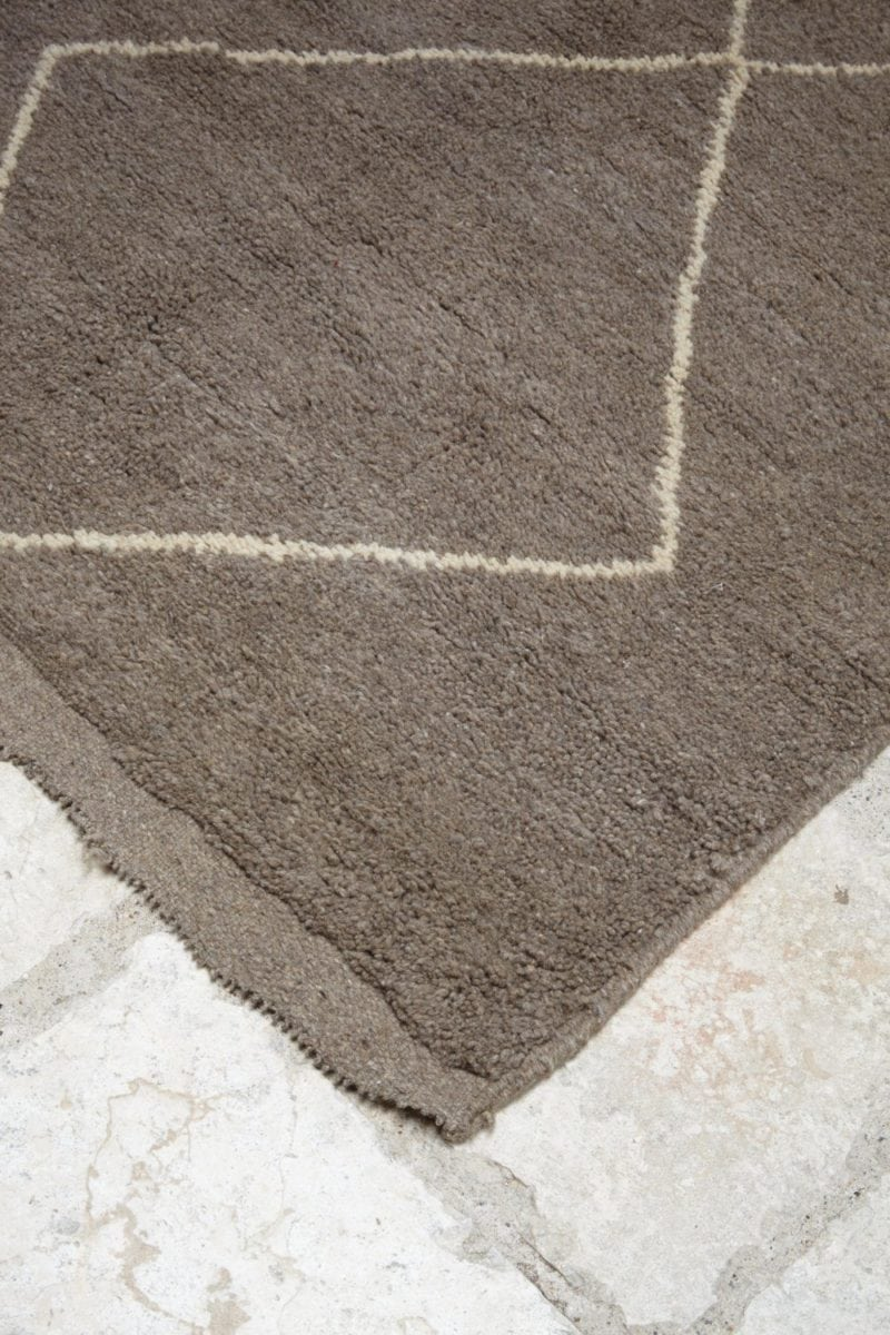 Moroccan Grey/Brown Wide Runner Rug   Traditional White Diamond Design
