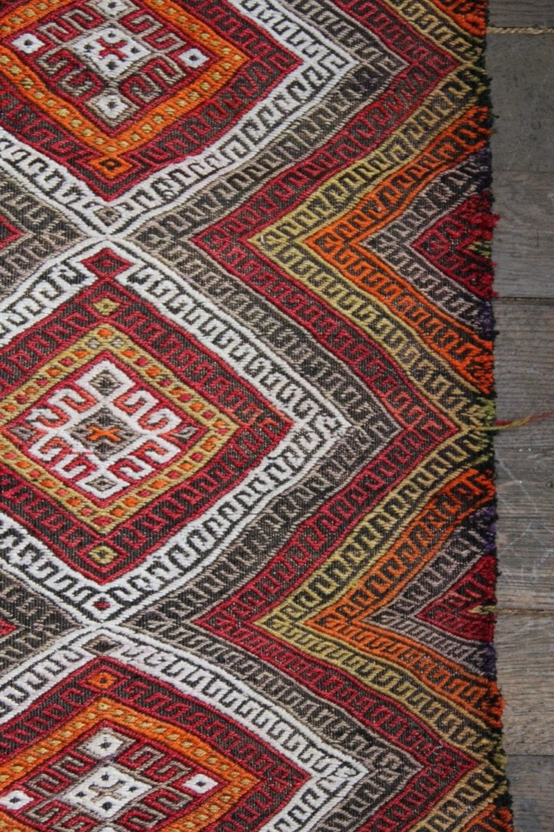 Small Vintage Autumnal Turkish Tribal Mat Emily S House