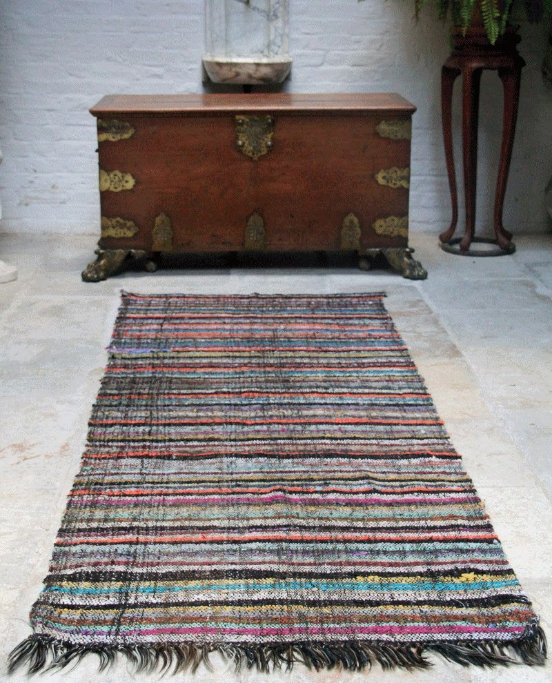 Vintage Striped Turkish Caput Kilim Runner